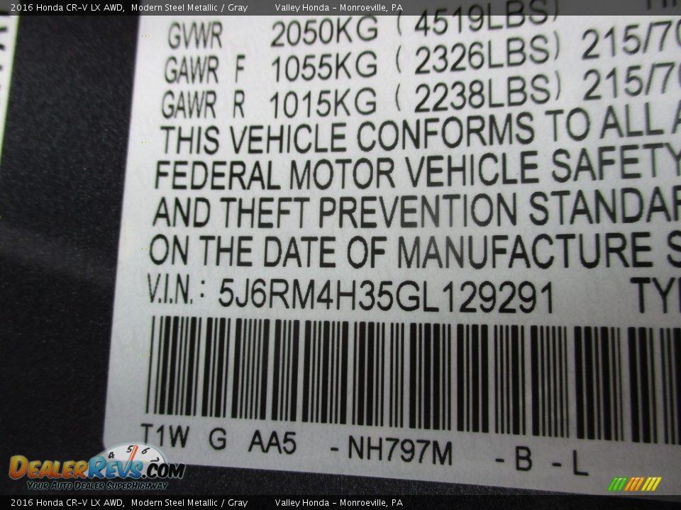 2016 Honda CR-V LX AWD Modern Steel Metallic / Gray Photo #19