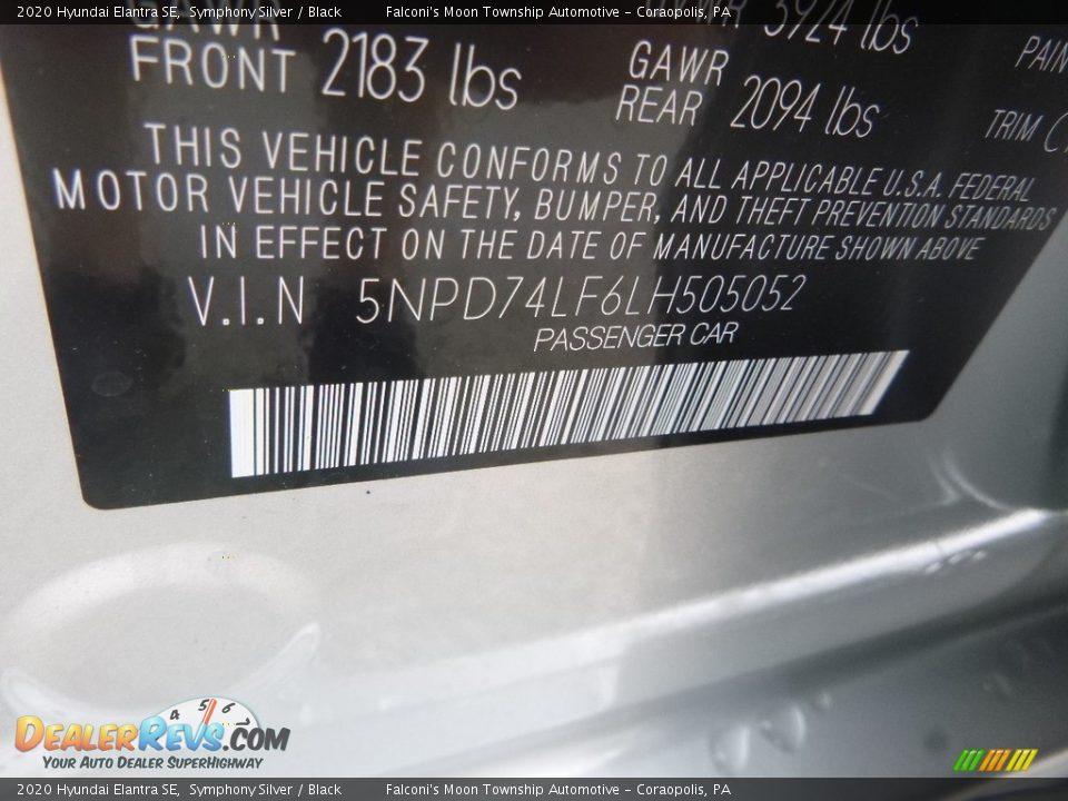 2020 Hyundai Elantra SE Symphony Silver / Black Photo #12