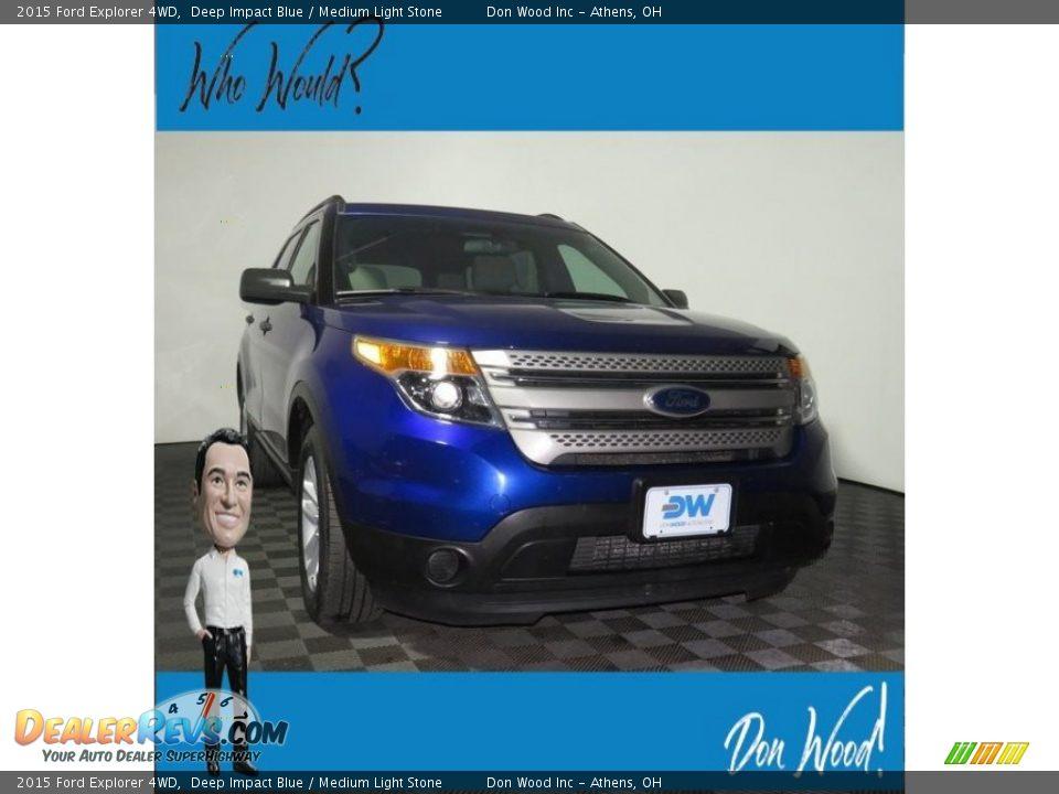 2015 Ford Explorer 4WD Deep Impact Blue / Medium Light Stone Photo #1