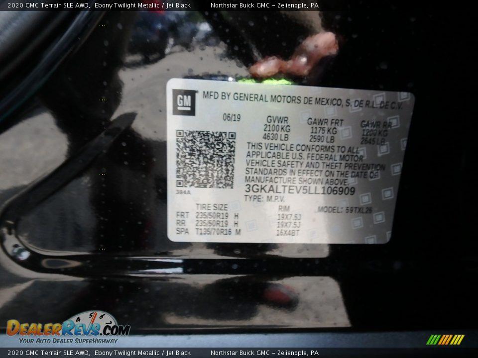 2020 GMC Terrain SLE AWD Ebony Twilight Metallic / Jet Black Photo #11