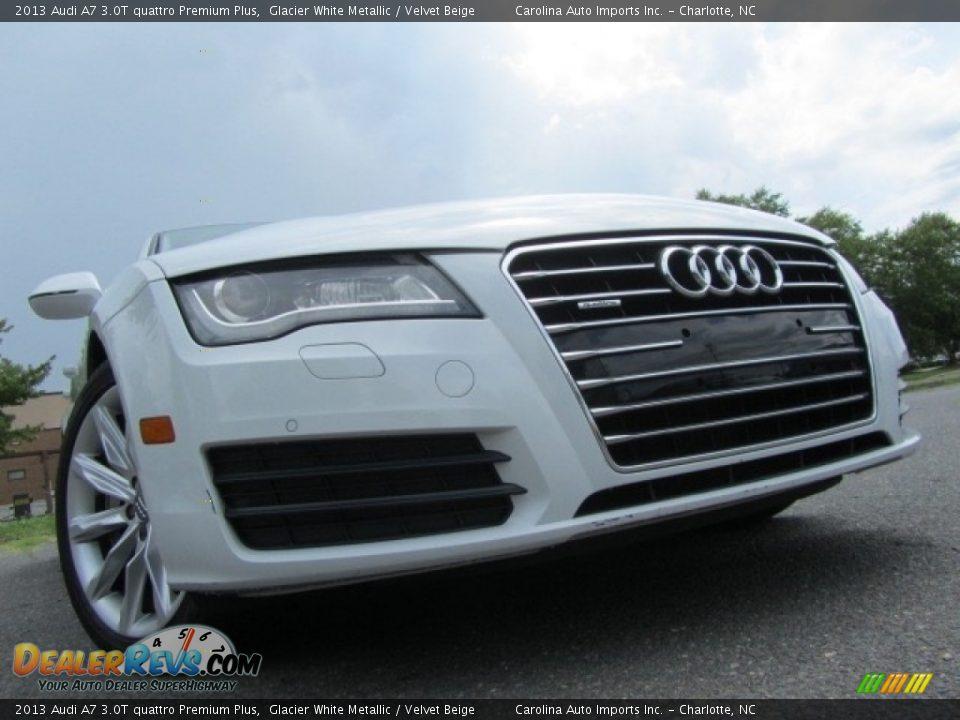 2013 Audi A7 3.0T quattro Premium Plus Glacier White Metallic / Velvet Beige Photo #1