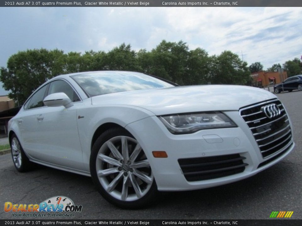 2013 Audi A7 3.0T quattro Premium Plus Glacier White Metallic / Velvet Beige Photo #2