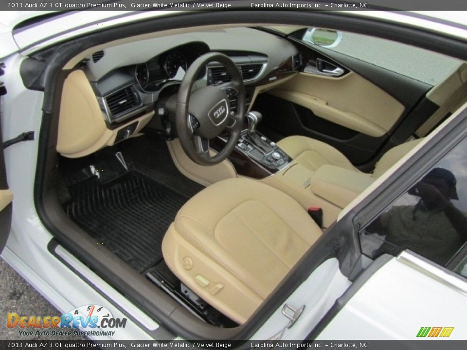 2013 Audi A7 3.0T quattro Premium Plus Glacier White Metallic / Velvet Beige Photo #17