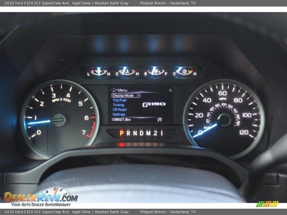 2016 Ford F150 XLT SuperCrew 4x4 Ingot Silver / Medium Earth Gray Photo #14