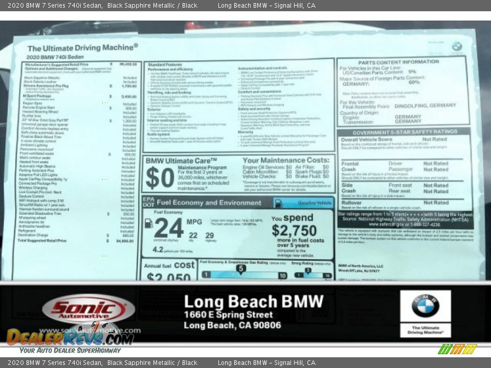 2020 BMW 7 Series 740i Sedan Black Sapphire Metallic / Black Photo #10