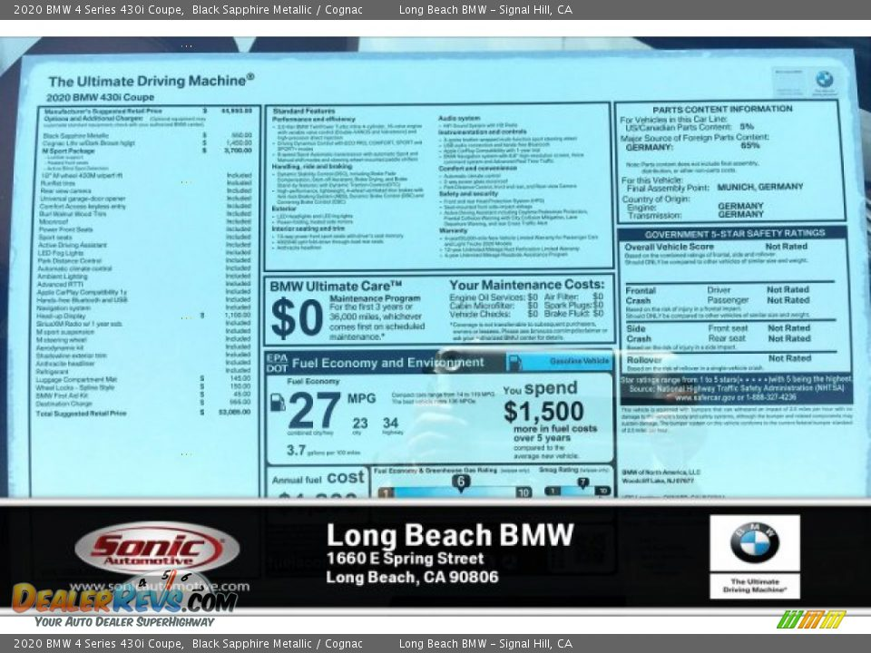 2020 BMW 4 Series 430i Coupe Black Sapphire Metallic / Cognac Photo #10