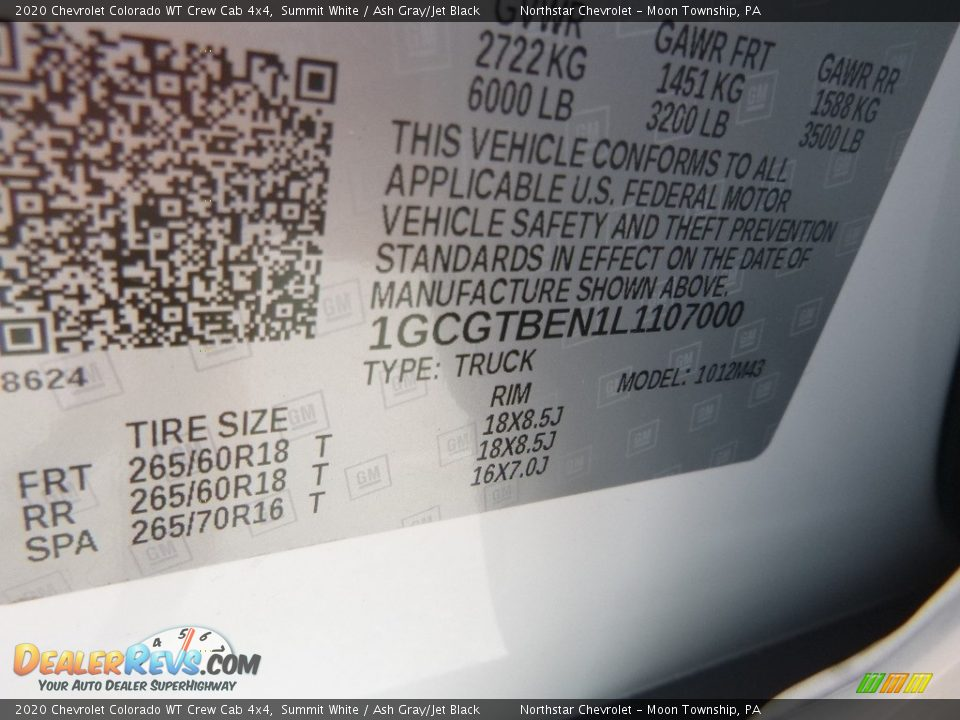2020 Chevrolet Colorado WT Crew Cab 4x4 Summit White / Ash Gray/Jet Black Photo #17