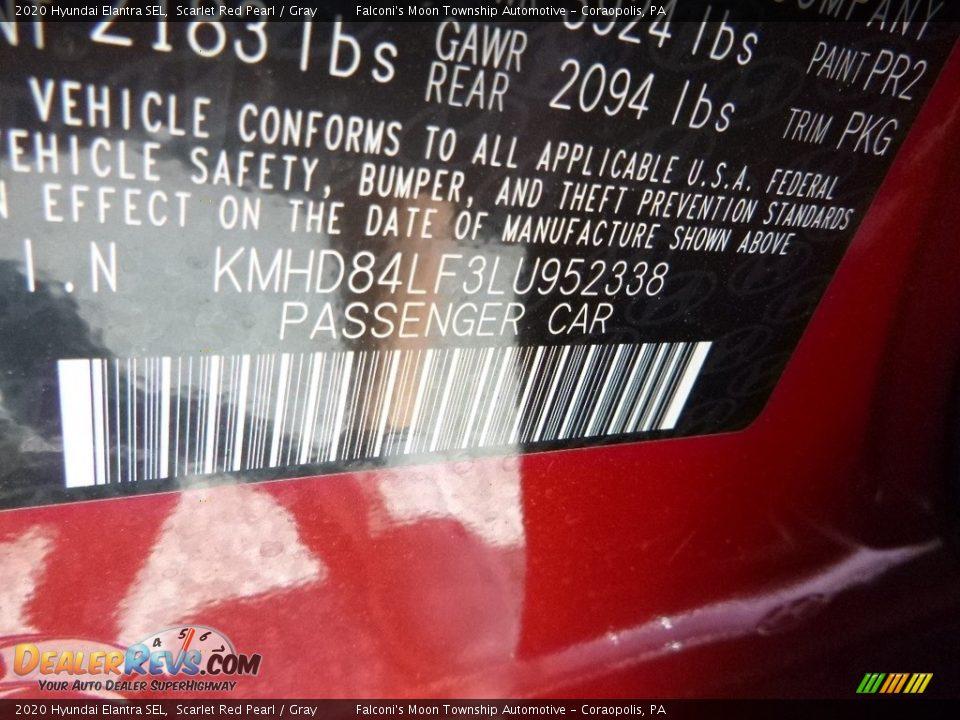 2020 Hyundai Elantra SEL Scarlet Red Pearl / Gray Photo #13