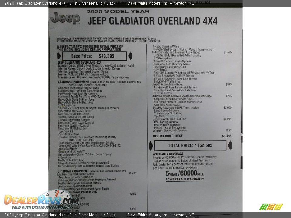 2020 Jeep Gladiator Overland 4x4 Billet Silver Metallic / Black Photo #35