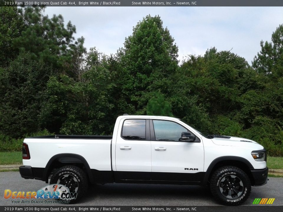 2019 Ram 1500 Big Horn Quad Cab 4x4 Bright White / Black/Red Photo #5