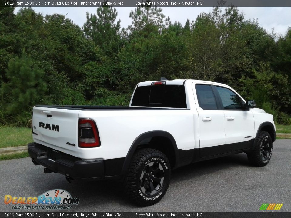 2019 Ram 1500 Big Horn Quad Cab 4x4 Bright White / Black/Red Photo #6