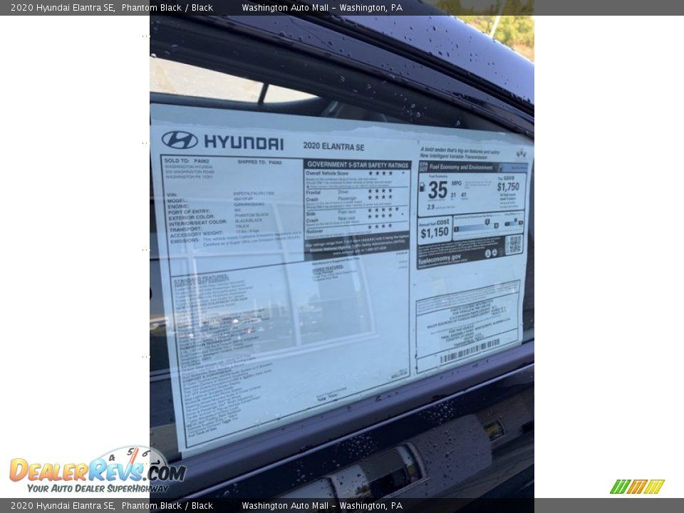 2020 Hyundai Elantra SE Phantom Black / Black Photo #16