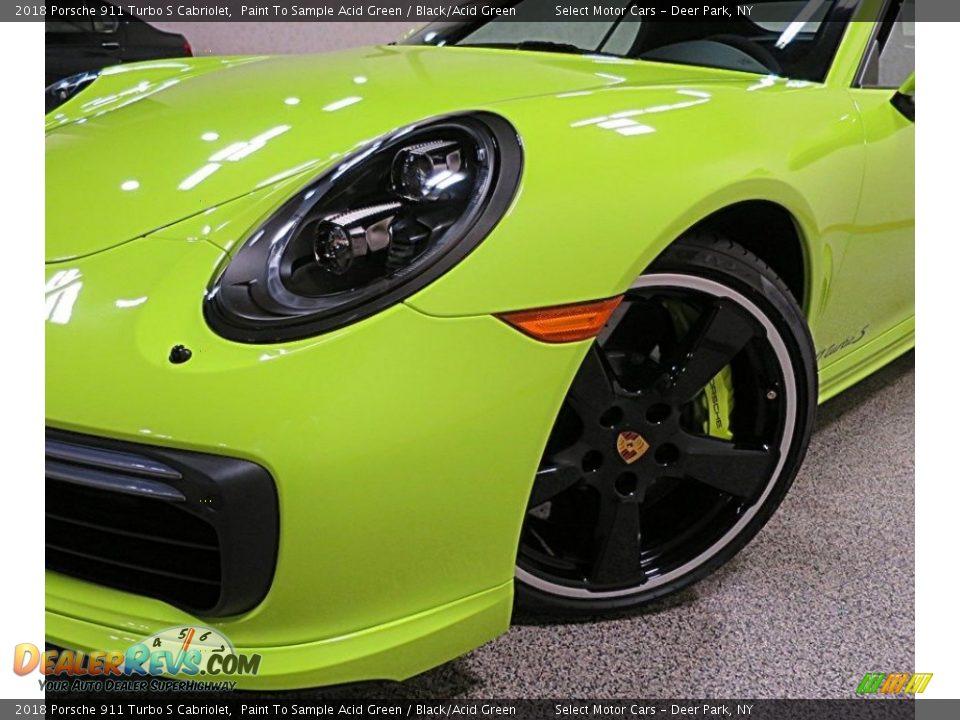 2018 Porsche 911 Turbo S Cabriolet Paint To Sample Acid Green / Black/Acid Green Photo #11
