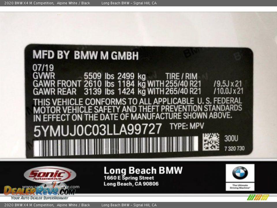 2020 BMW X4 M Competition Alpine White / Black Photo #11