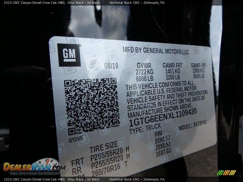 2020 GMC Canyon Denali Crew Cab 4WD Onyx Black / Jet Black Photo #12