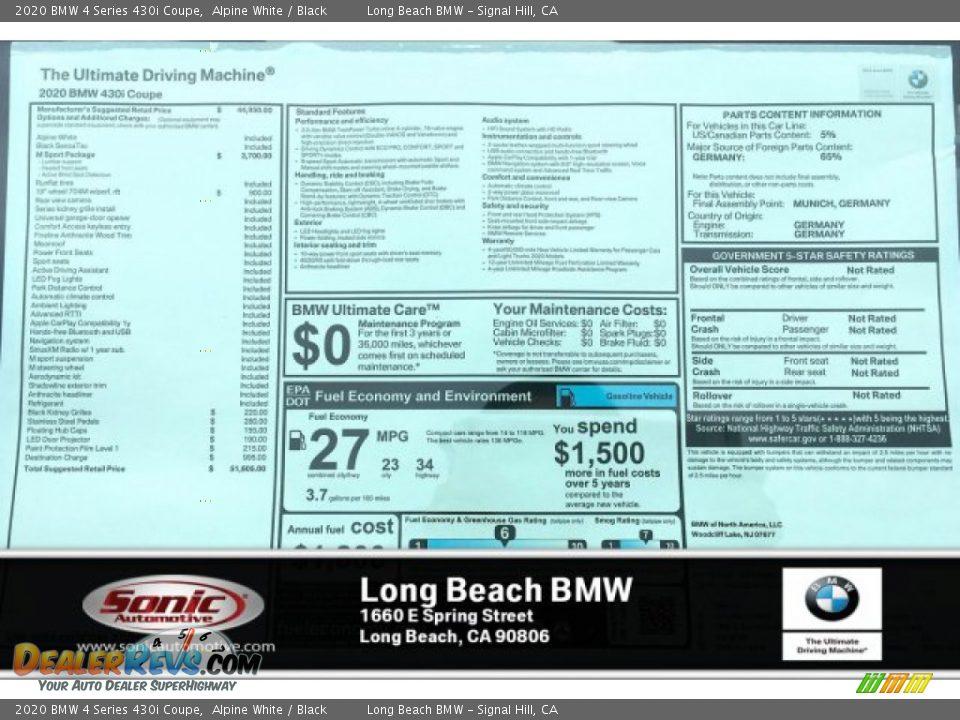 2020 BMW 4 Series 430i Coupe Alpine White / Black Photo #10
