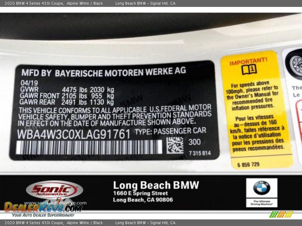2020 BMW 4 Series 430i Coupe Alpine White / Black Photo #11