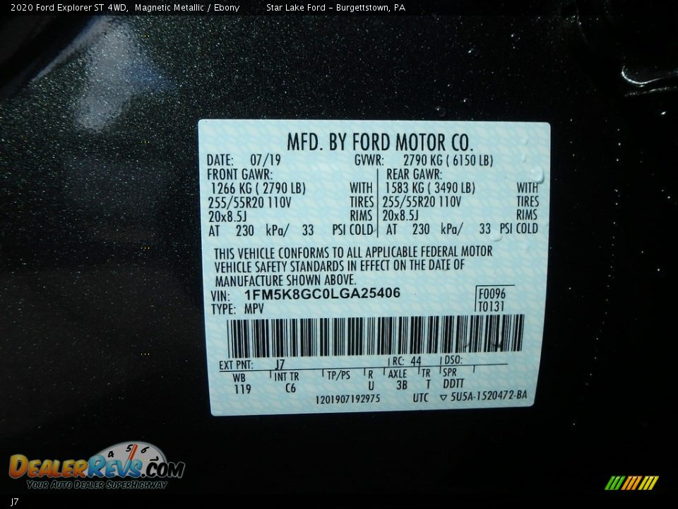 Ford Color Code J7 Magnetic Metallic