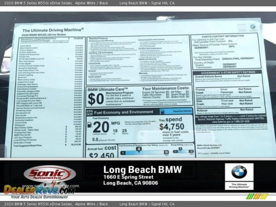 2020 BMW 5 Series M550i xDrive Sedan Alpine White / Black Photo #10