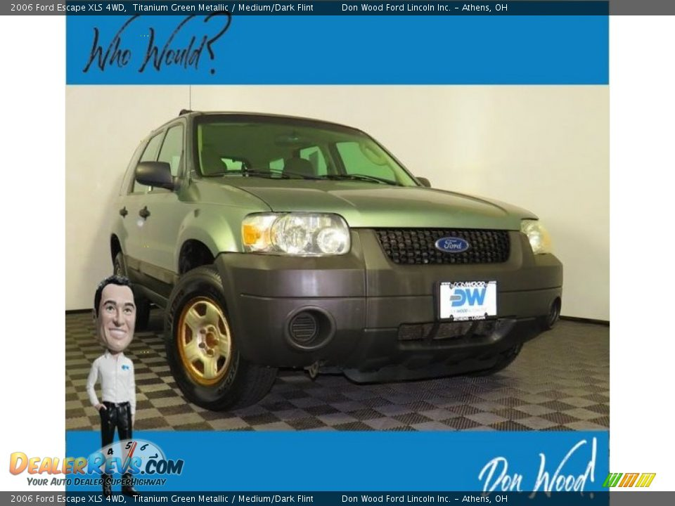 2006 Ford Escape XLS 4WD Titanium Green Metallic / Medium/Dark Flint Photo #1