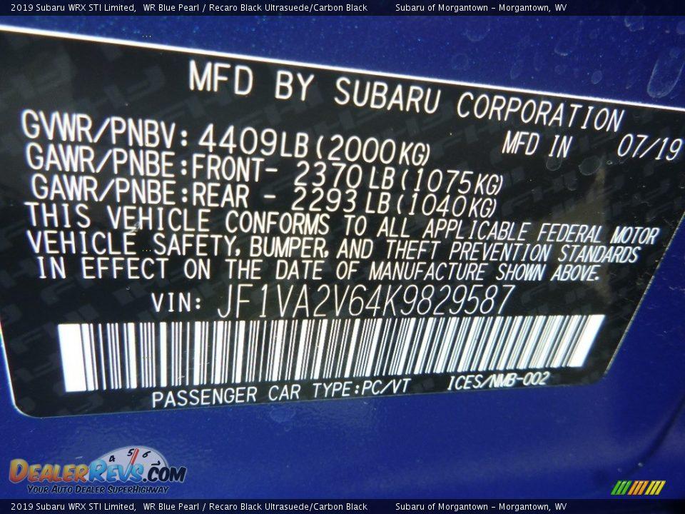 2019 Subaru WRX STI Limited WR Blue Pearl / Recaro Black Ultrasuede/Carbon Black Photo #15