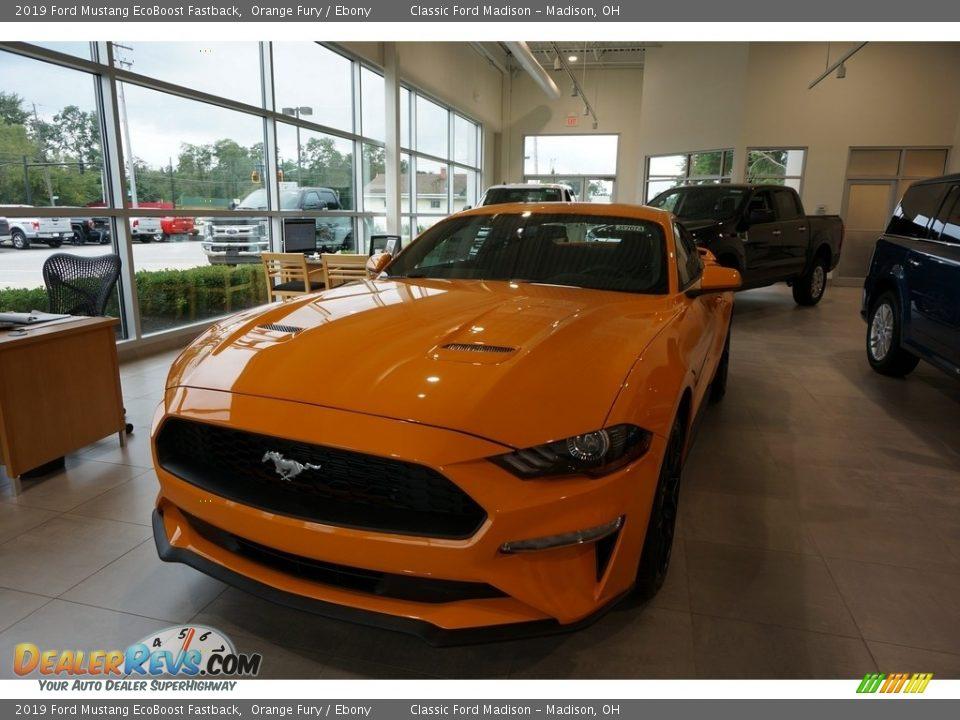 2019 Ford Mustang EcoBoost Fastback Orange Fury / Ebony Photo #2