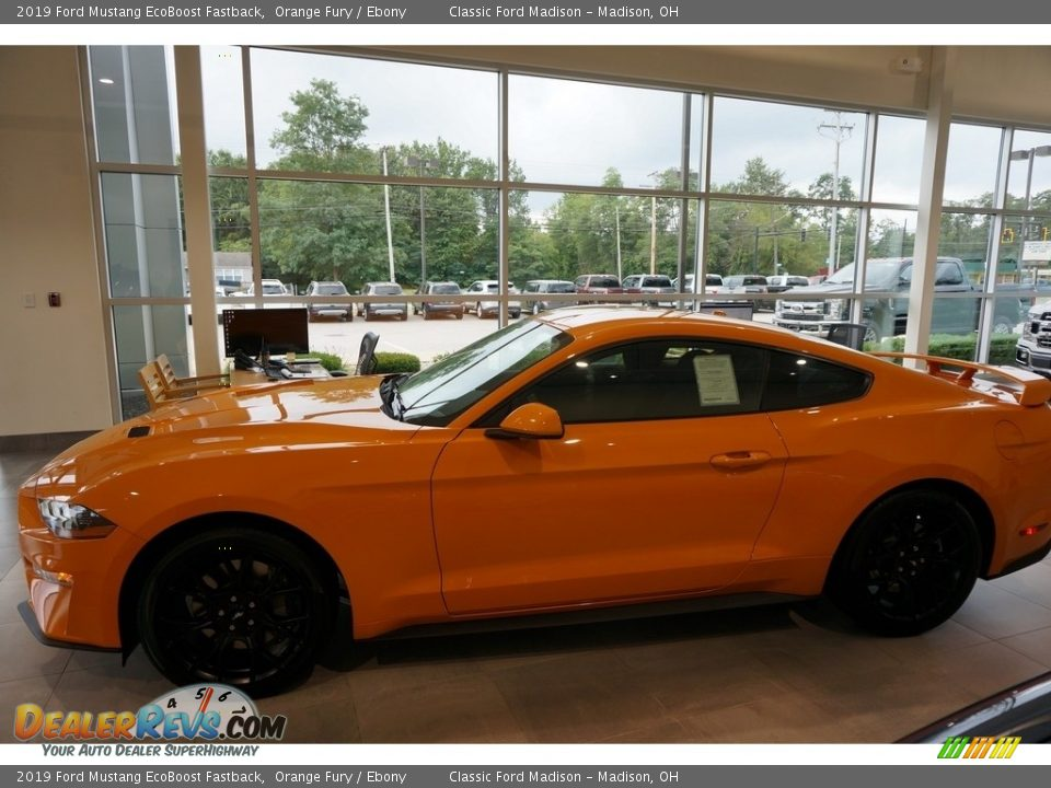 2019 Ford Mustang EcoBoost Fastback Orange Fury / Ebony Photo #3
