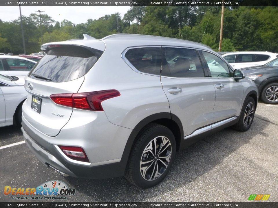 2020 Hyundai Santa Fe SEL 2.0 AWD Symphony Silver / Espresso/Gray Photo #2