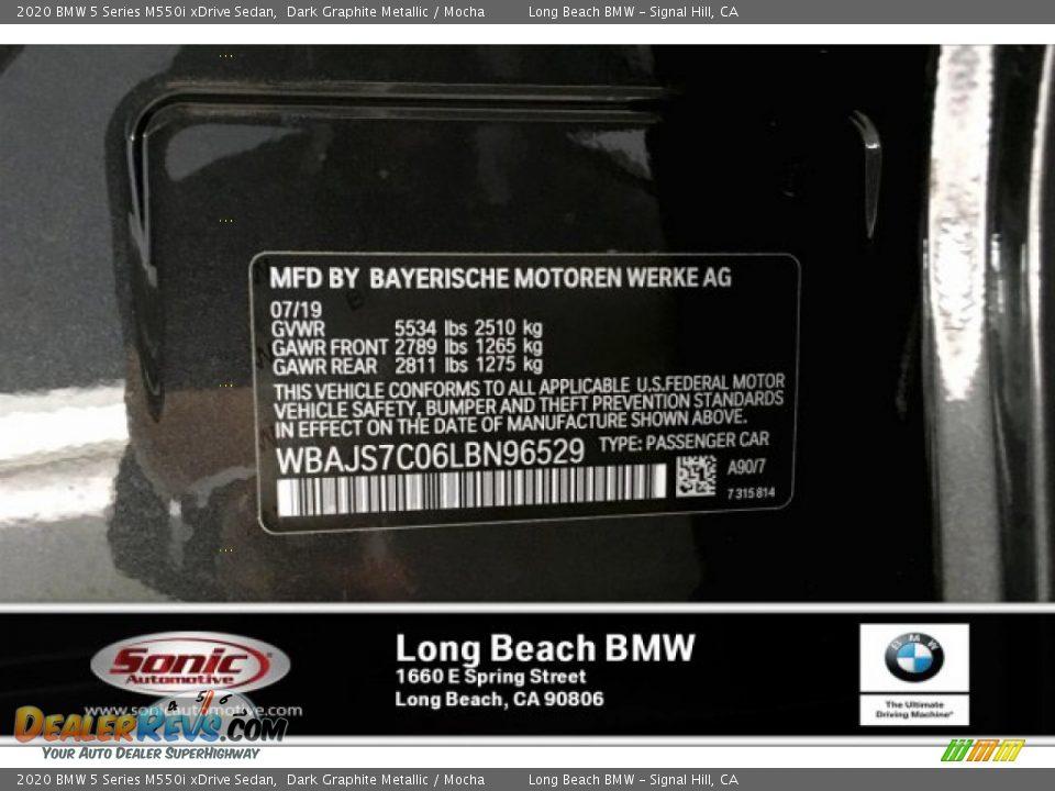 2020 BMW 5 Series M550i xDrive Sedan Dark Graphite Metallic / Mocha Photo #11