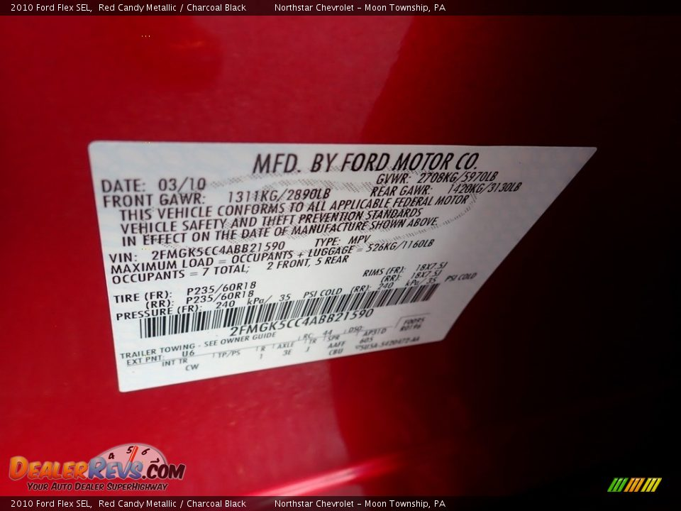 2010 Ford Flex SEL Red Candy Metallic / Charcoal Black Photo #29
