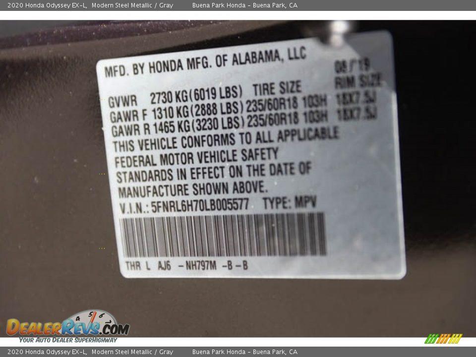 2020 Honda Odyssey EX-L Modern Steel Metallic / Gray Photo #28