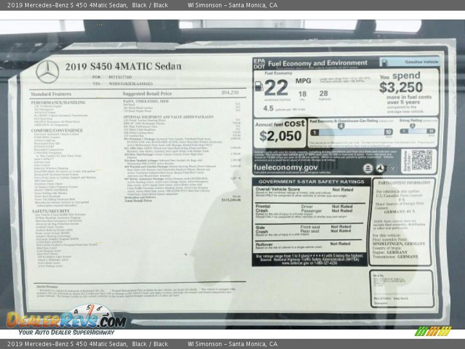 2019 Mercedes-Benz S 450 4Matic Sedan Window Sticker Photo #9