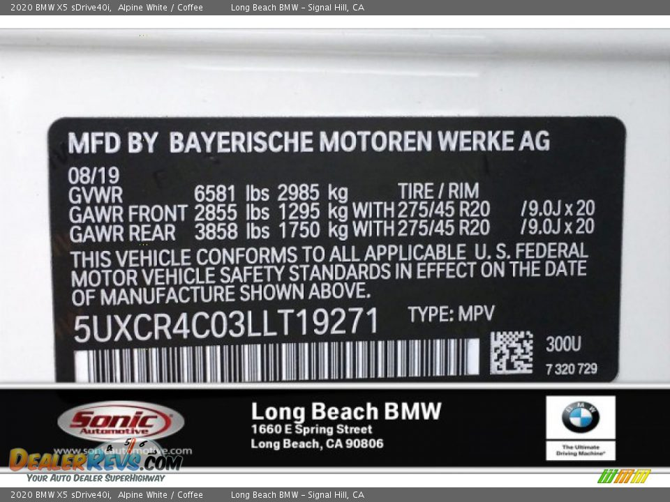 2020 BMW X5 sDrive40i Alpine White / Coffee Photo #11