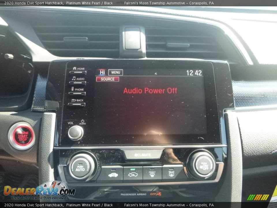 2020 Honda Civic Sport Hatchback Platinum White Pearl / Black Photo #15