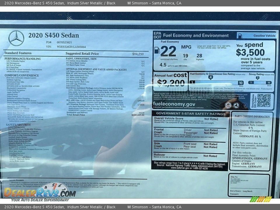 2020 Mercedes-Benz S 450 Sedan Window Sticker Photo #10