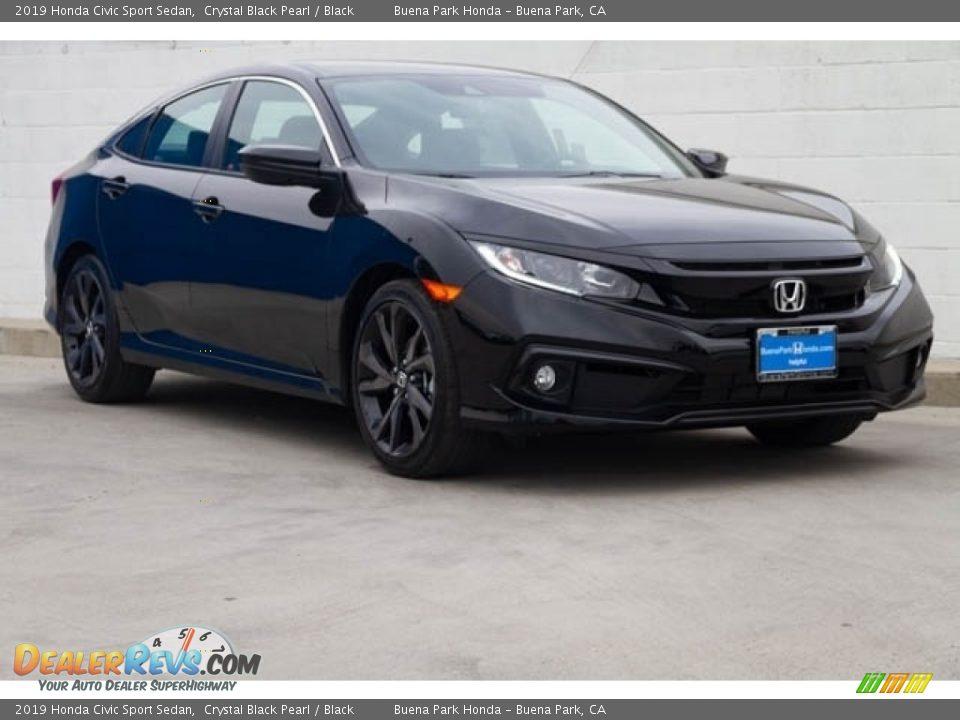 2019 Honda Civic Sport Sedan Crystal Black Pearl / Black Photo #1
