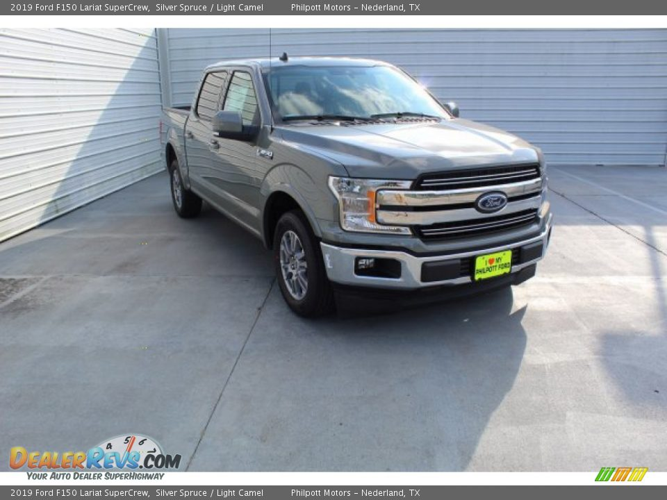 2019 Ford F150 Lariat SuperCrew Silver Spruce / Light Camel Photo #2