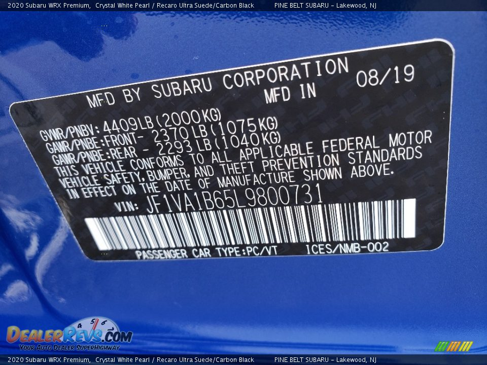 2020 Subaru WRX Premium Crystal White Pearl / Recaro Ultra Suede/Carbon Black Photo #10