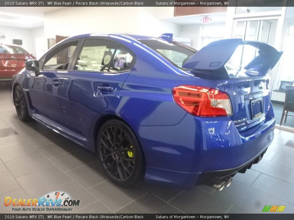 2019 Subaru WRX STI WR Blue Pearl / Recaro Black Ultrasuede/Carbon Black Photo #8
