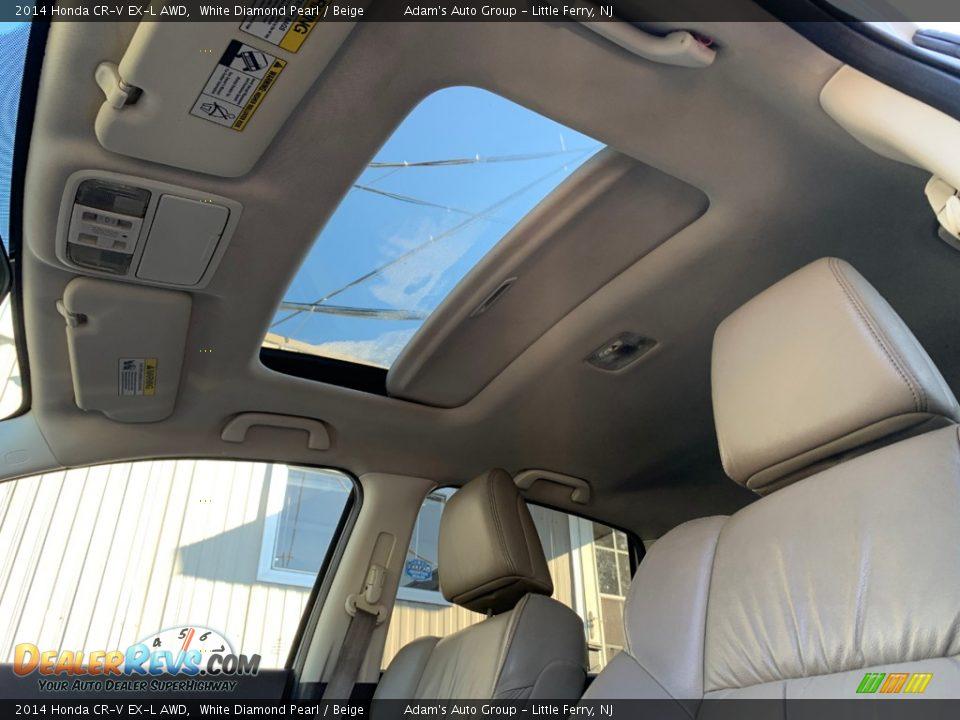 2014 Honda CR-V EX-L AWD White Diamond Pearl / Beige Photo #9
