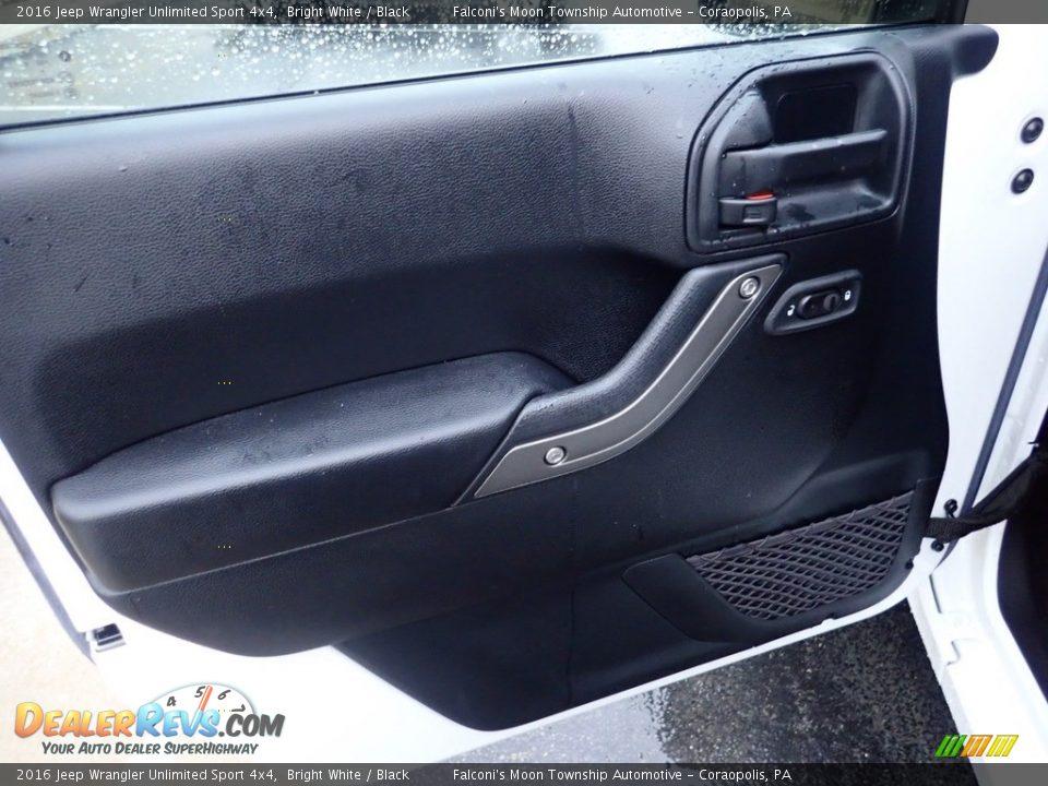 2016 Jeep Wrangler Unlimited Sport 4x4 Bright White / Black Photo #19