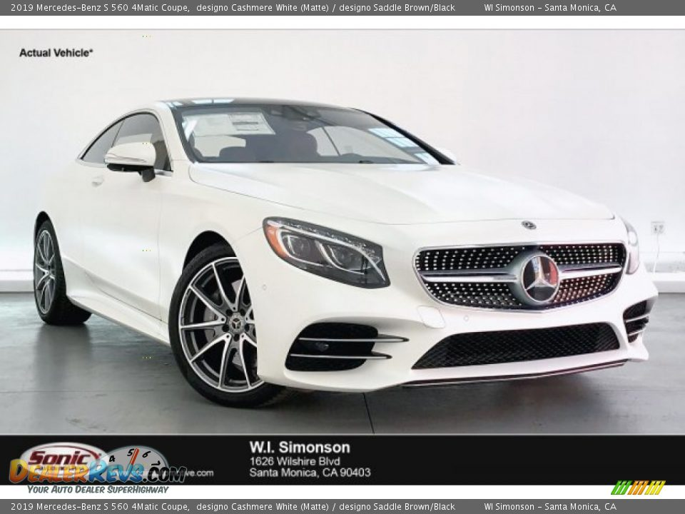 2019 Mercedes-Benz S 560 4Matic Coupe designo Cashmere White (Matte) / designo Saddle Brown/Black Photo #1