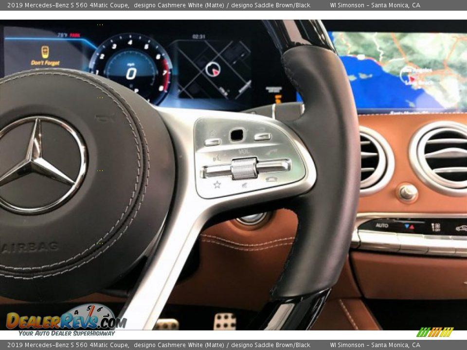2019 Mercedes-Benz S 560 4Matic Coupe designo Cashmere White (Matte) / designo Saddle Brown/Black Photo #19