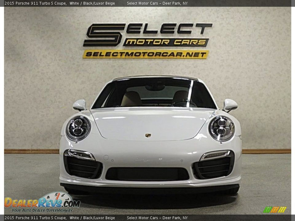 2015 Porsche 911 Turbo S Coupe White / Black/Luxor Beige Photo #2