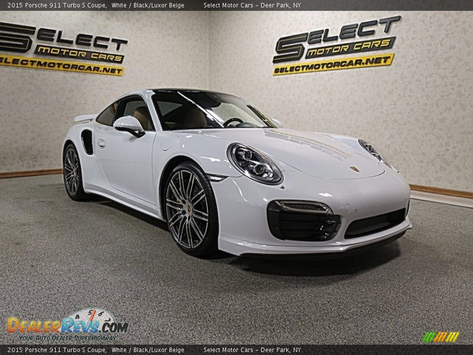 2015 Porsche 911 Turbo S Coupe White / Black/Luxor Beige Photo #3