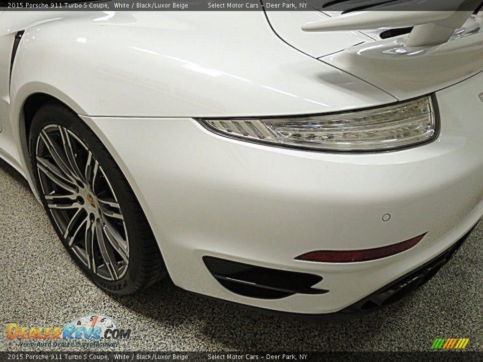 2015 Porsche 911 Turbo S Coupe White / Black/Luxor Beige Photo #7