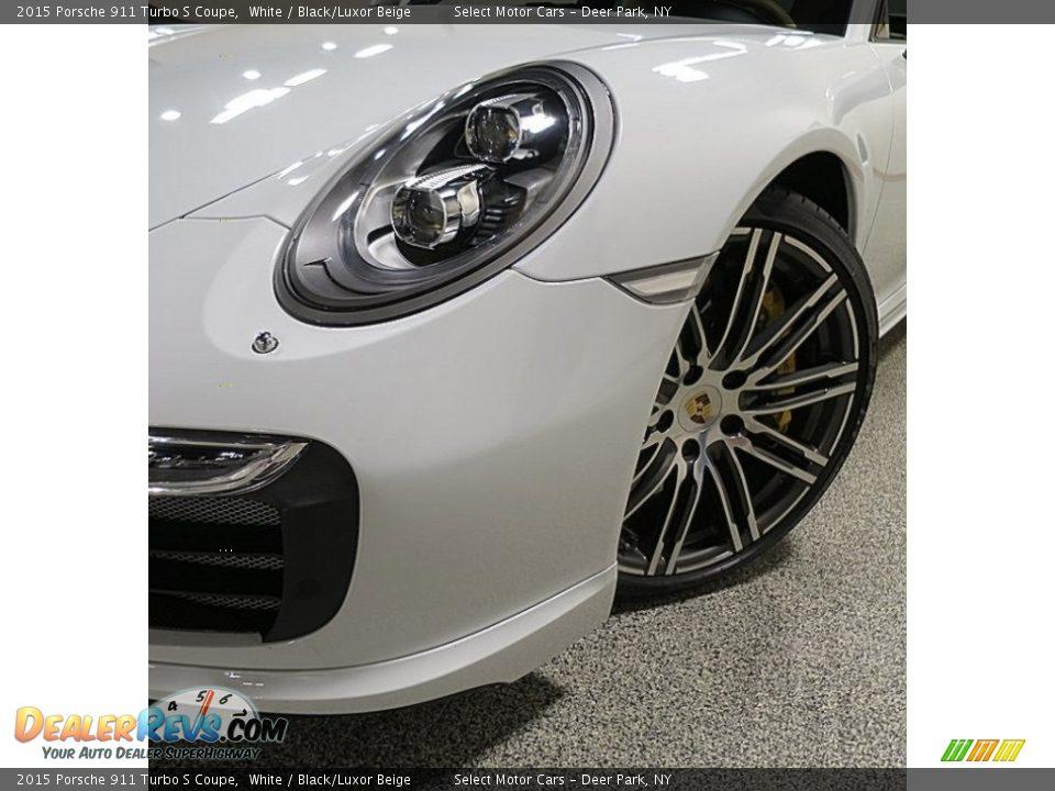 2015 Porsche 911 Turbo S Coupe White / Black/Luxor Beige Photo #9