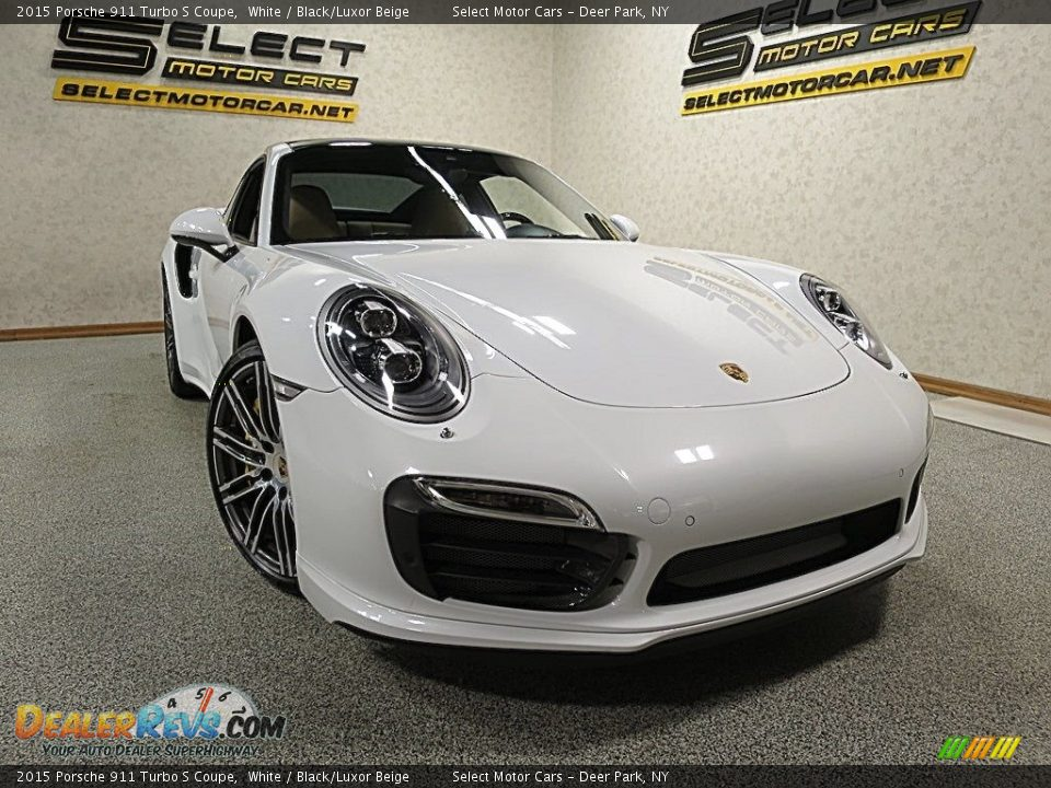 2015 Porsche 911 Turbo S Coupe White / Black/Luxor Beige Photo #10