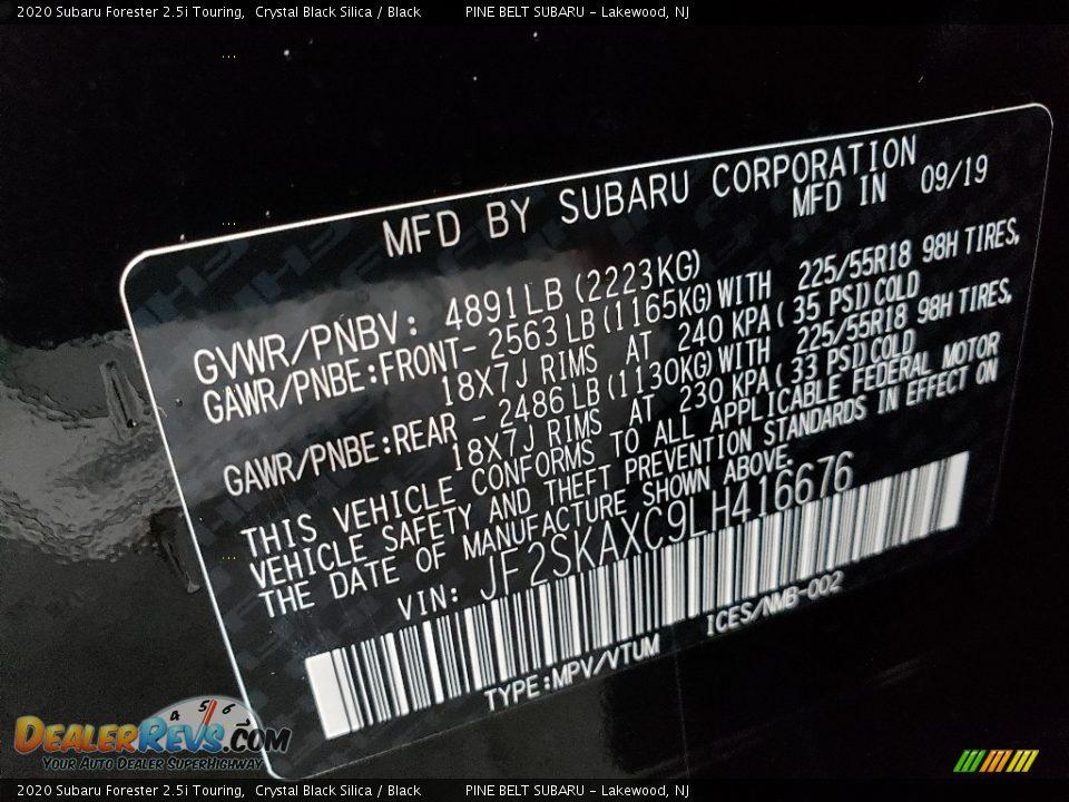 2020 Subaru Forester 2.5i Touring Crystal Black Silica / Black Photo #9