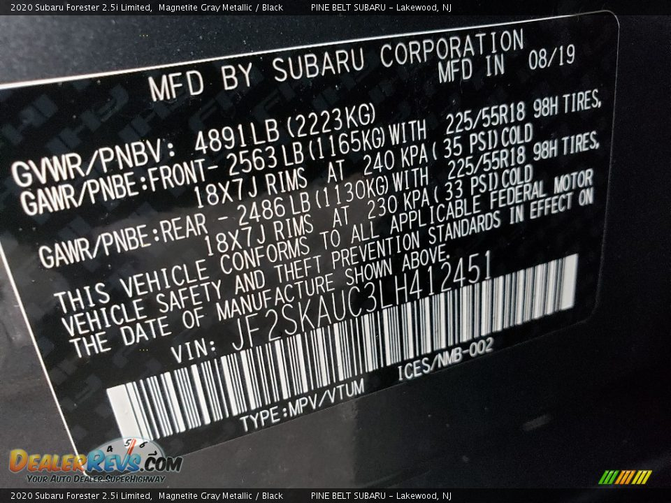 2020 Subaru Forester 2.5i Limited Magnetite Gray Metallic / Black Photo #9